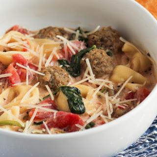 Creamy Mini Meatball Tortellini Soup