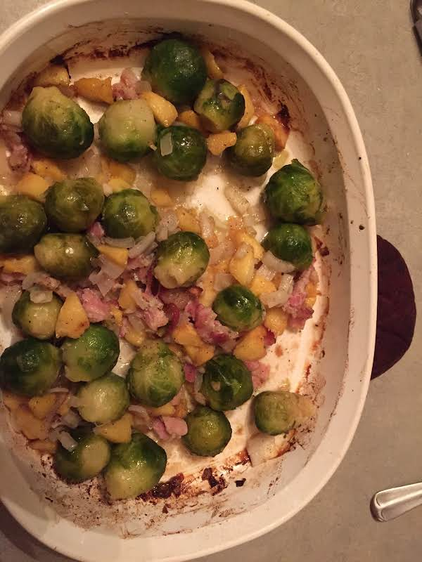 Sweet Peachy Bacon Brussel Sprouts