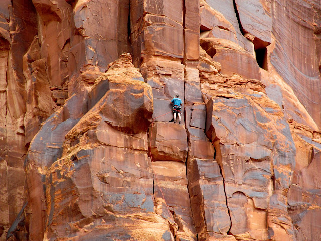 Rock climber along Kane Creek