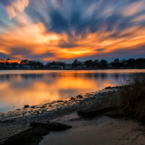 Sunsets Afterglow by James Gramm - Landscapes Sunsets & Sunrises ( water, sunset, beautiful, reflections, long exposure, river )