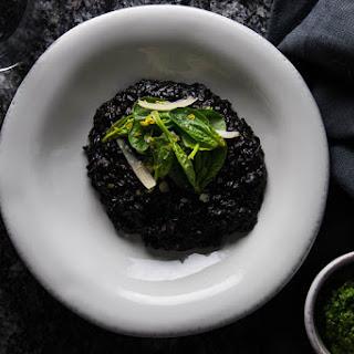 Black Rice with Spinach and Wild Garlic Pesto