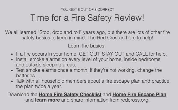 Fire safety review quiz results
