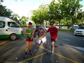 Photo: Tracy Chan, Patric Yee and yours truly (KC) going for a morning run at 6:30 a.m.