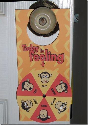 Monkey Moods Doorknob Hanger