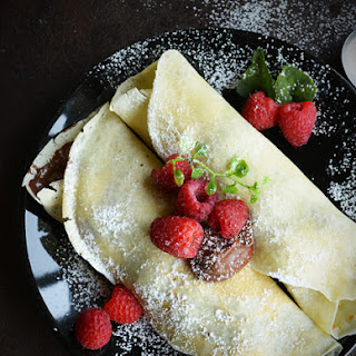 Raspberry Crepe filled with Nutella, kids friendly.