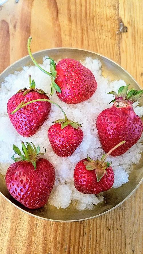 Summer Bo Ssam Dinner at Han Oak refreshing dessert of soaked in melon and munbaeju strawberries and granita