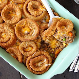 Cheesy Beef Bake with Onion Rings