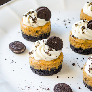 Mini Cookies 'N Cream Pumpkin Cheesecakes.