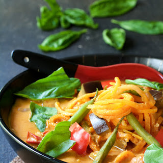 Vegetables in Thai Red Curry with Sweet Potato Noodles.