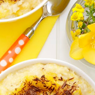 Mango Rice Pudding with Chocolate Flakes