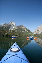 Photo: Sea kayaking Jackson Lake in Grand Teton National Park, WY.
