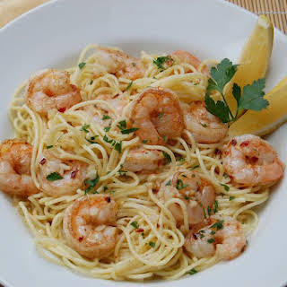 Garlic Lemon Shrimp with Pasta.