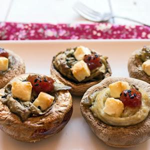 Mushrooms Stuffed with Eggplant, Feta and Tomato Jam