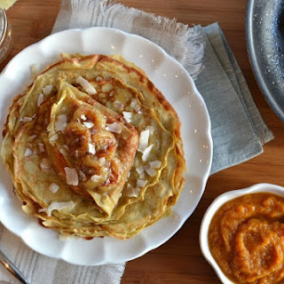 Spiced Sweet Potato Crepes with Caramelized Bananas