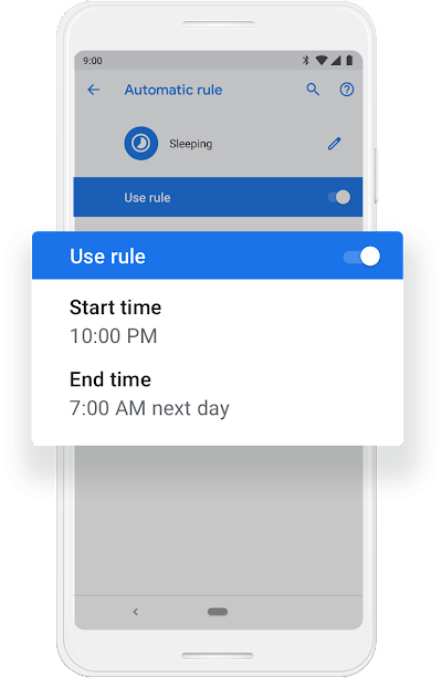 A Google phone screen that shows Do Not Disturb Mode getting turned on to work from 12:00am to 7:00am.