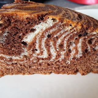 Chocolate and Vanilla Zebra Cake.