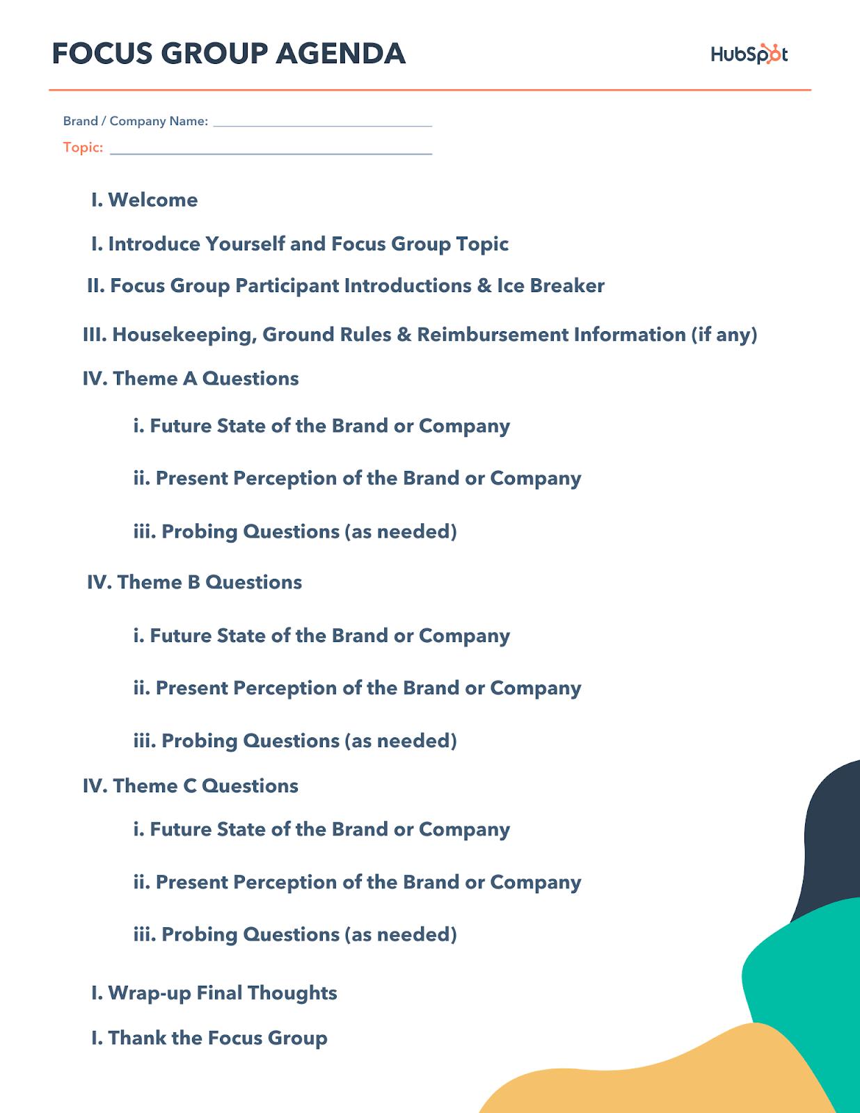 Focus Group Agenda template