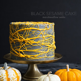 Black Sesame Cake with marshmallow webs