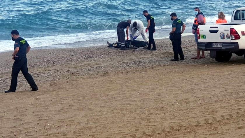 El ahogado en la orilla de la playa