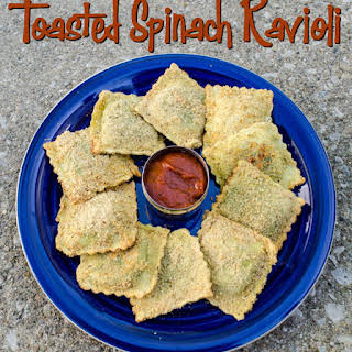 Oven Toasted Spinach Ravioli.