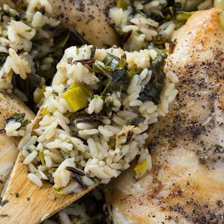 Skillet Chicken and Rice with Leeks and Kale.