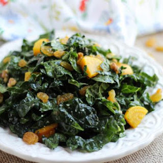 Kale and Golden Beet Salad with Tahini-Lemon Dressing.