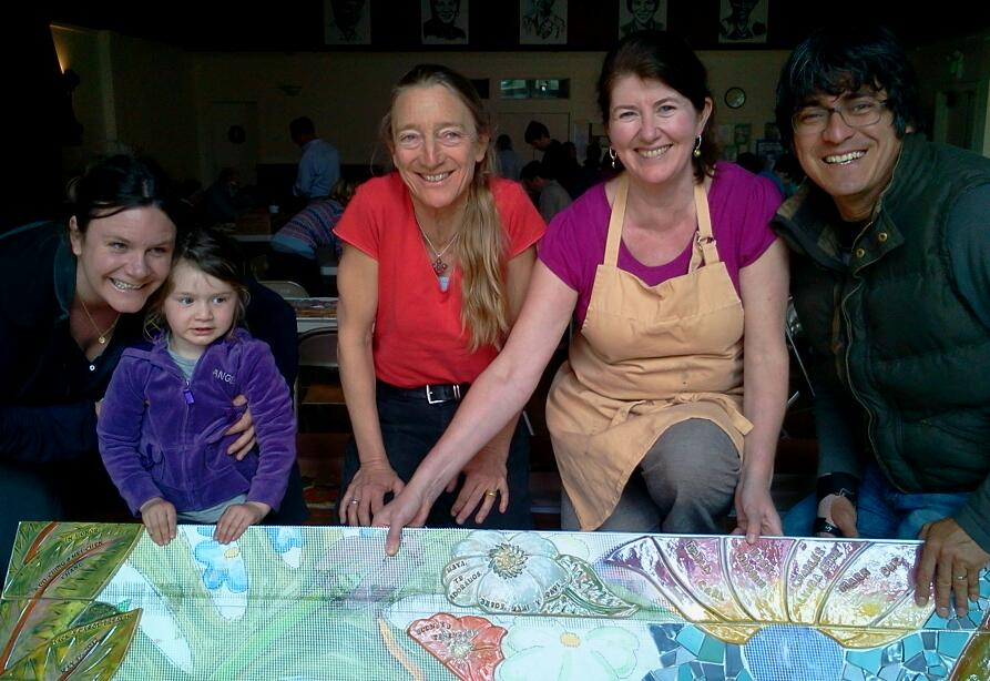 Photo: Hidden Garden Steps project artists Colette Crutcher and Aileen Barr (center) with family whose tile is on display at the second public tile-making workshop (Saturday, March 23, 2013, St. John of God community hall in San Francisco's Inner Sunset District) for the Hidden Garden Steps project (16th Avenue, between Kirkham and Lawton streets) in San Francisco's Inner Sunset District. For more information about the project, please visit http://hiddengardensteps.org.