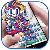 Graffiti Clown Skull Keyboard Theme