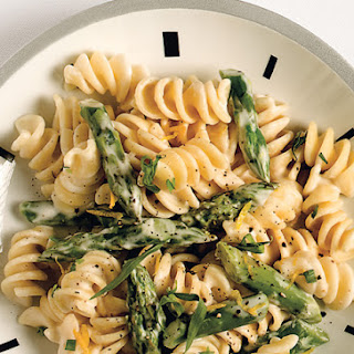 Pasta with Goat Cheese, Lemon, and Asparagus.
