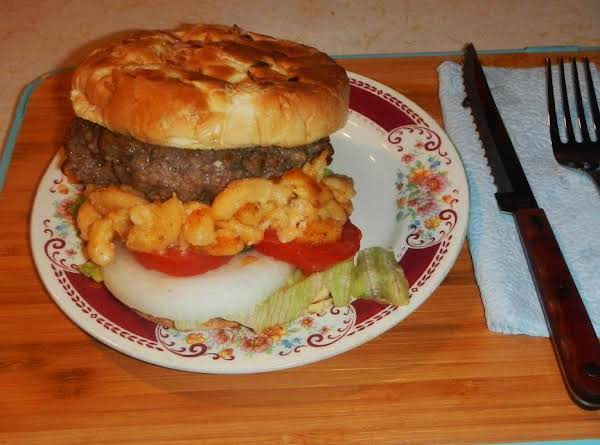 A Beef  Burger Delight W/ Mac & Cheese