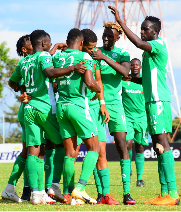 Gor Mahia FC players celebrate a goal in a pazt FKF-PL match against Bidco United at Moi Stadium, Kasarani Annex.