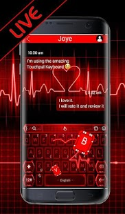 Live 3D Red Neon Heart Keyboard Theme - náhled
