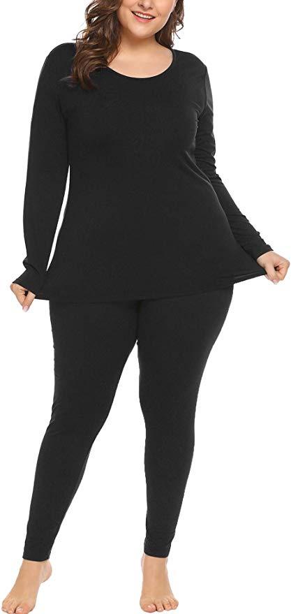 In'voland Women's Plus Size Thermal Long Johns Sets Fleece Lined 2 Pcs Underwear Top & Bottom Pajama  Black 22W