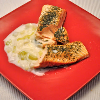 Salmon with Leek Sauce