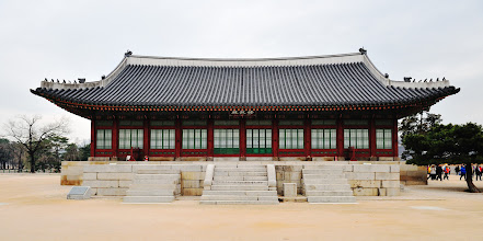 Photo: Of all the government offices inside the palace, Jiphyeonjeon, the Hall of Worthies, is the only one remaining. It is where Hangeul, the Korean alphabet, was invented under King Sejong. Rebuilt in 1867, its name was later changed to Sujeongjeon. It served as the cabinet office during the Reform Movement of 1894.