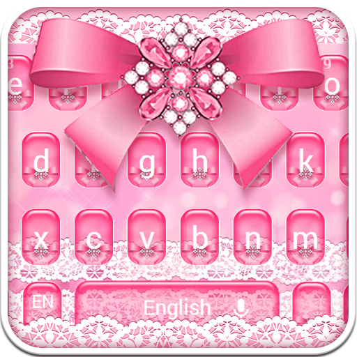 Pink Diamond Lace Bow Keyboard