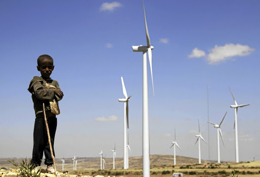 A boy stands in front of wind turbines at the Ashegoda Wind Farm, near a village in Mekelle, Tigray, 780km north of Addis Ababa. File Picture: REUTERS