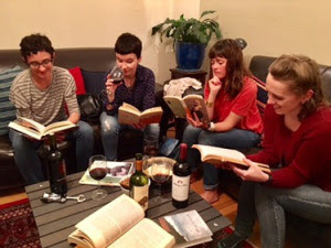 Four people reading