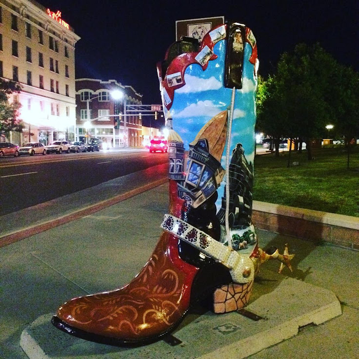 "The ""Downtown Cheyenne"" boot stands in the Depot Plaza. Photo: Macy Evans."