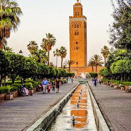 Reflection by Richard Michael Lingo - City,  Street & Park  Fountains ( fountain, reflection, city, minaret, park )