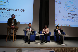 """Photo: Final panel discussion - """"Comms Associations' Mission Today""""- 2012: S. Naumov, M. Redgrove, L. Carreno, Y. Joshi"""