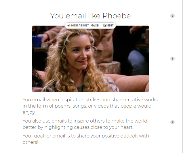 Email like Phoebe quiz results