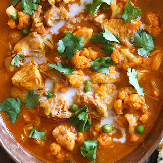 Instant Pot Chicken Tikka Masala with Cauliflower and Peas.