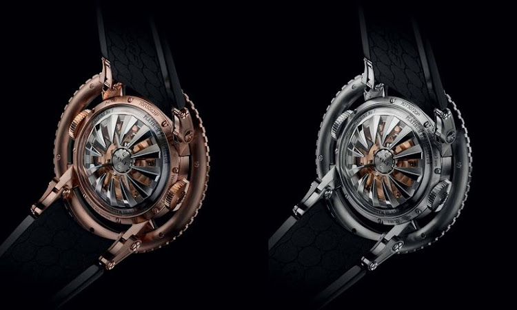 The rear of the HM7, in the rose gold version (left) and in titanium. The rotors are made from a single piece of machined titanium and are intended to evoke octopus tentacles.Source: MB&F