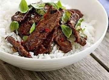 Coconut-Beef Stir-Fry Over Rice