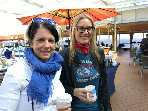 IMG_1067aimee-mann.jpg - Rock star Aimee Mann, right, and Jonathan Coulton's wife, Christine Connor, pose for me on Westerdam's Lido deck during morning coffee.