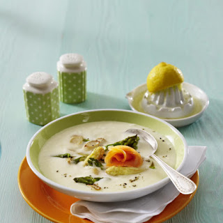 Cream of Asparagus Soup with Smoked Salmon.