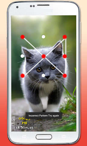 android Kitty Cat Pattern Lock Screenshot 1