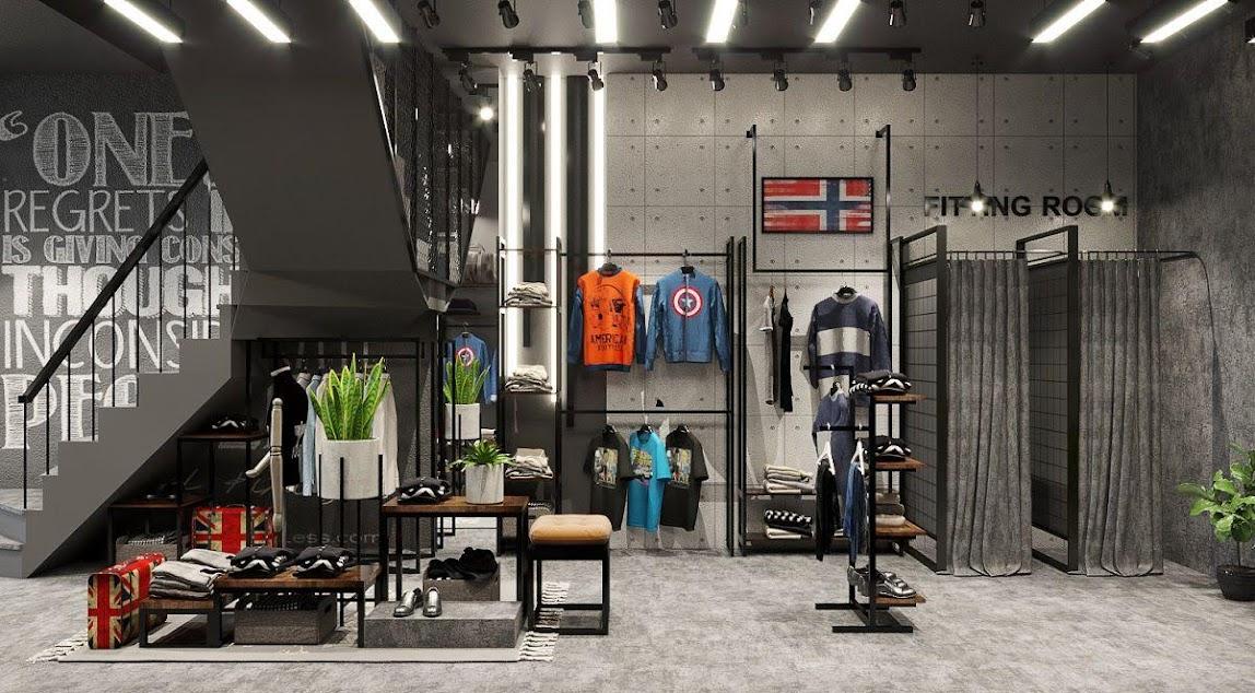thiết kế shop thời trang nam ấn tượng