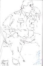 Photo: 崔阿胖沈思2012.03.08鋼筆 崔阿胖很可愛,嘴巴不說,其實還蠻鼓勵我畫他的,每次在我動筆時,他都會刻意讓動作定格,再偷偷用眼睛瞄我,然後在畫上簽名。